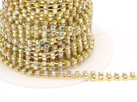 Rhinestone Trim -  Gold Double Diamond Trim - Per Yard