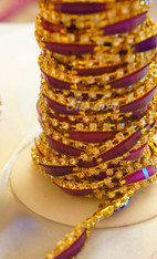 Rhinestone Trim -  Purple Rectangle Diamond Trim - Per Yard