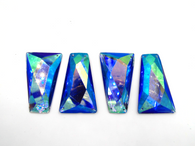 10 Pieces - 25x43 mm Trapezoid Stone - Blue AB