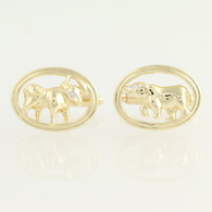 Bull Cufflinks - 14k Yellow Gold Oval Men's Dress Diamond Eye Wallstreet