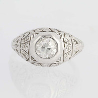 Vintage Diamond Engagement Ring - 18k White Gold Old Mine Cut Solitaire .92ct
