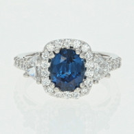 NEW Sapphire & Diamond Halo Ring - Platinum Half Moon Cut 3.73ctw
