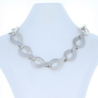 "NEW Bastian Inverun Fancy Satin Collar Necklace 21"" - Sterling Silver Modern"