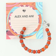 New ALEX AND ANI Independence Red Earth Bead Bangle Bracelet