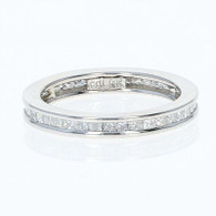 Diamond Eternity Wedding Band - 14k White Gold Ring Princess Cut 1.60ctw