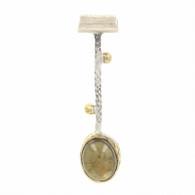 NEW Bora Lemon Quartz Pendant - Sterling Silver & Bronze Drop