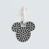 New Authentic Pandora Charm 791446NCK Disney Sparkling Mickey Black Crystal