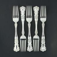 """Gorham Buttercup Set 5 Forks Sterling Silver 1899 Floral Vintage Flatware 7.5"""""""
