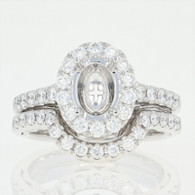 NEW Semi-Mount Oval Halo Engagement Ring & Wedding Band 18k Gold Diamonds.88ctw