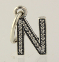 "New Authentic Pandora Letter ""N"" Charm Sterling 791326CZ Initial Pendant Retired"