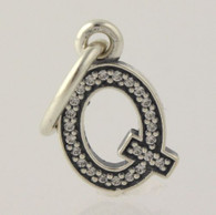 "New Authentic Pandora Letter ""Q"" Charm Sterling Silver 791329CZ Initial Pendant"