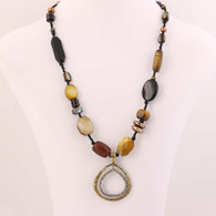 Silpada Multi-Gemstone Necklace - Sterling & Brass Shell Pearls Retired N1787