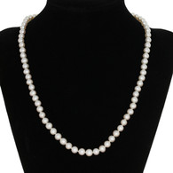 """Freshwater Pearl Necklace 17 1/2"""" - Sterling Silver Knotted Strand"""