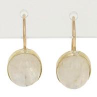 NEW 6.70ctw Oval Cabochon Moonstone Earrings - 14k Yellow Gold Drop Pierced