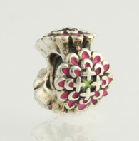 NEW Chamilia 2020-0651 Bead Charm - Sterling Silver Blooming Zinnia Pink Enamel