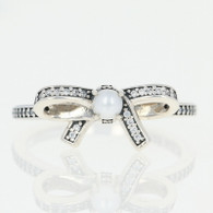 NEW Authentic Pandora Delicate Sentiments Ring - Sterling Pearl Bow 60(9)190971P