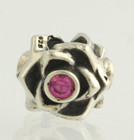 NEW Chamilia Bead Charm - Sterling Silver Flower Pink CZ JA-41 Collectors