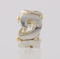 NEW Chamilia Bead Charm Sterling Silver 14k Yellow Gold Silver Swirl KA-64