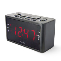 "Dual Alarm Digital Clock Radio with 1.2"" LED display"