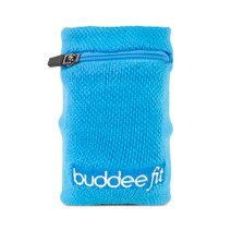 Sports Wristband with Zippered Pocket - Blue