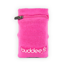 Sports Wristband with Zippered Pocket - Pink