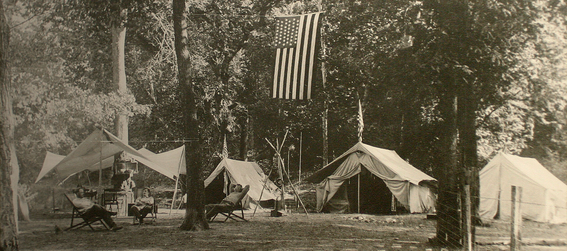 Vintage photograph of a row of Wenzel tents