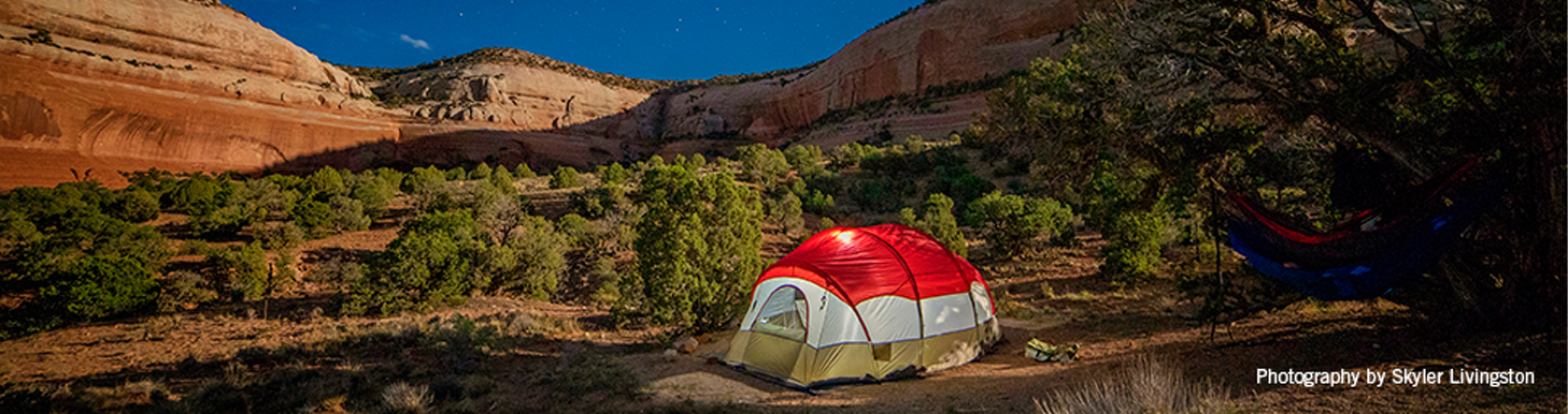 Tent in a canyon