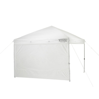 White Wenzel Smartshade Sun Screen / Windbreak 10' wall setup on a side of the Wenzel Smartshade Canopy 10'x10'