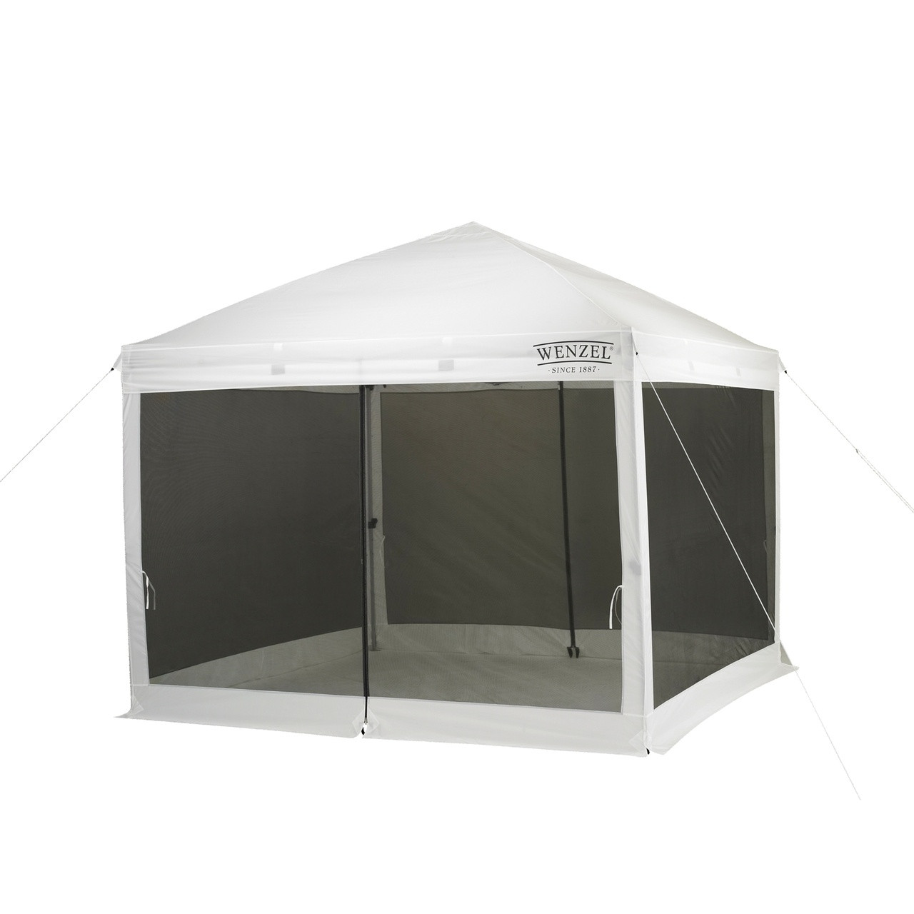 Wenzel Smartshade Screen House, white with black screens, setup with the guy lines extended