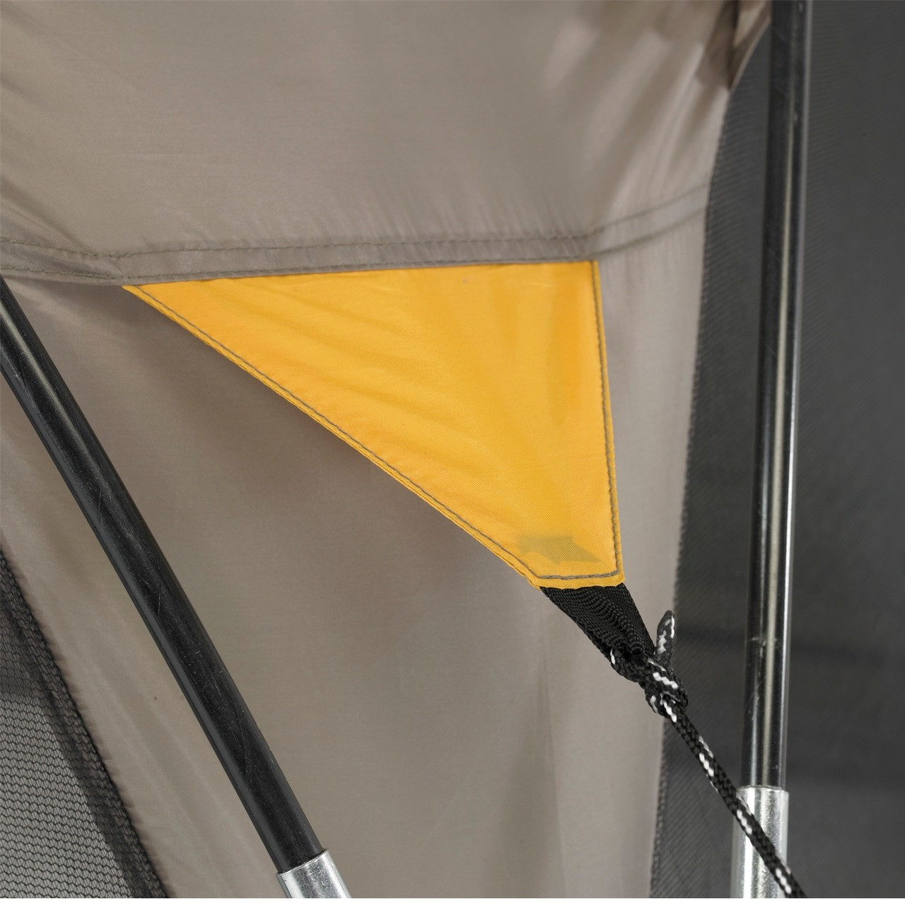 Close up view of a guy line connection to the tent on the Wenzel Sun Valley shelter