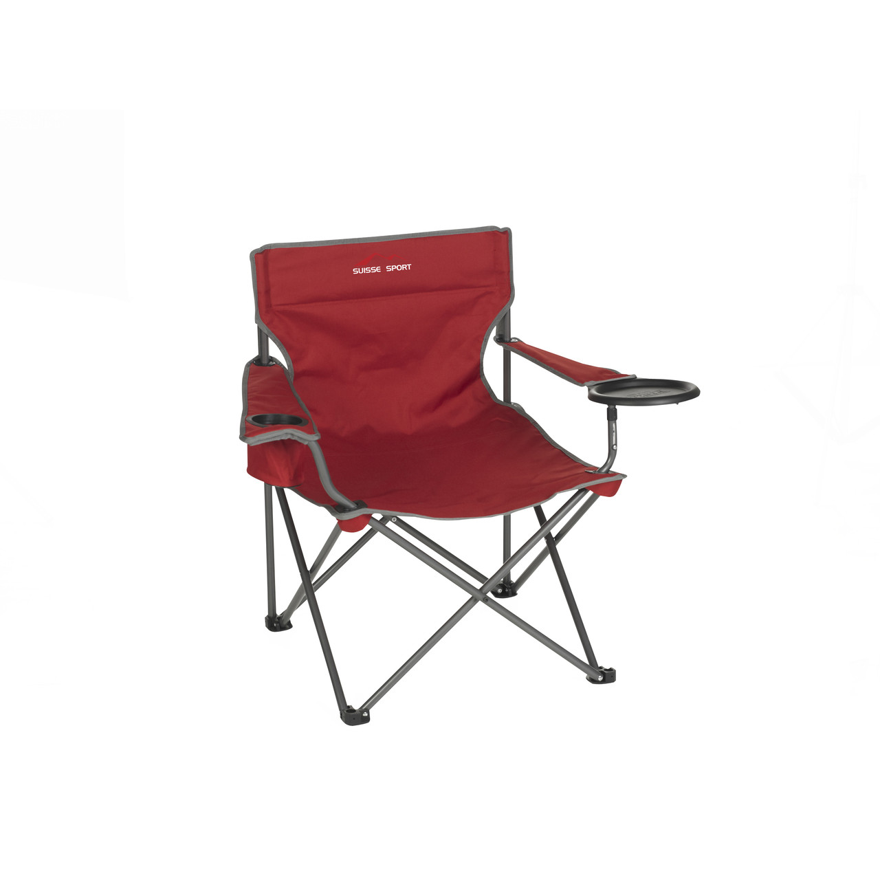 Wenzel Banquet Chair XL, red and gray, sitting down extended with the plate holder down