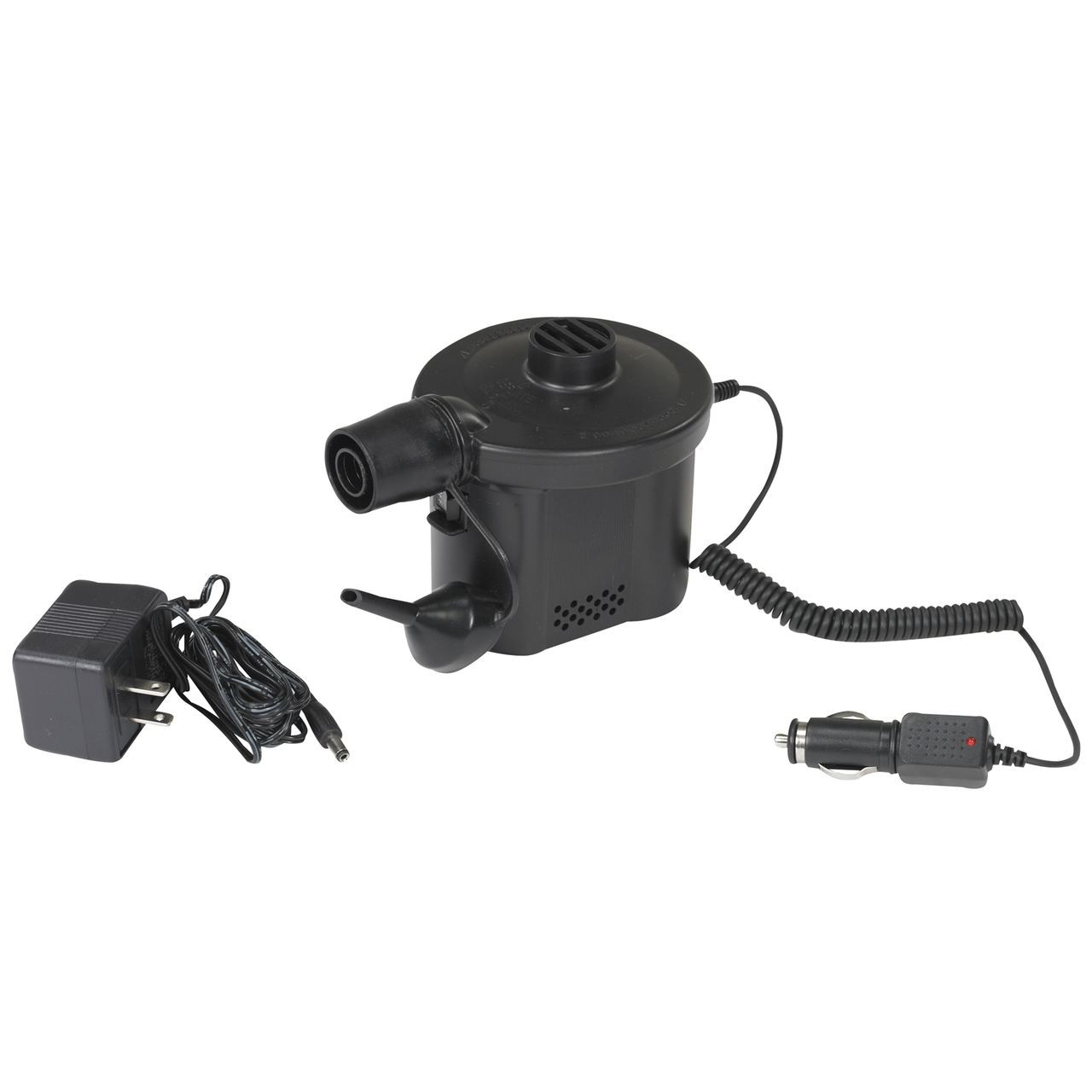 Wenzel Rechargeable pump with the car outlet adapter connected and the wall charger sitting next to it