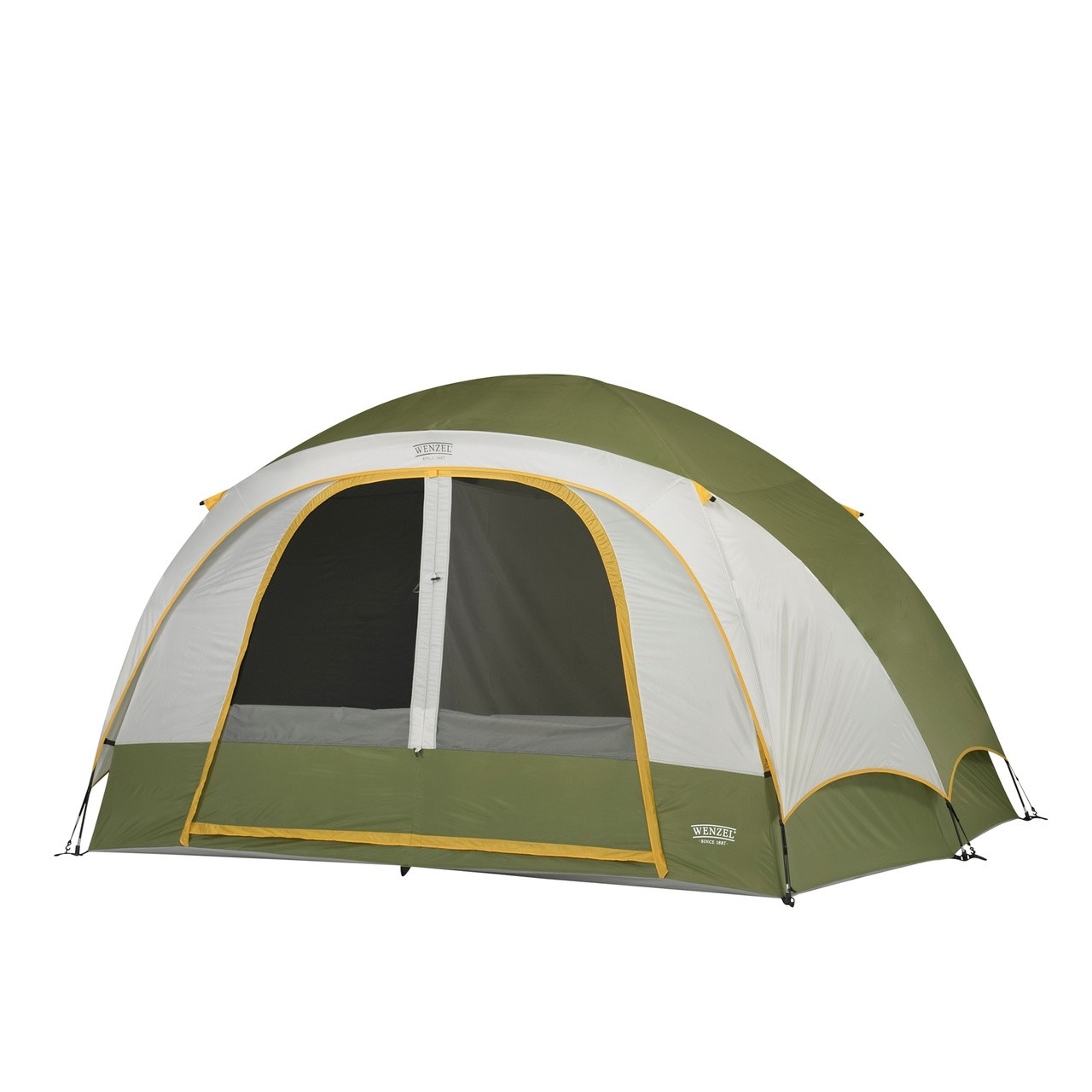 Wenzel Evergreen 6 tent, green and tan, setup with the rain fly on and the main screen door windows rolled down