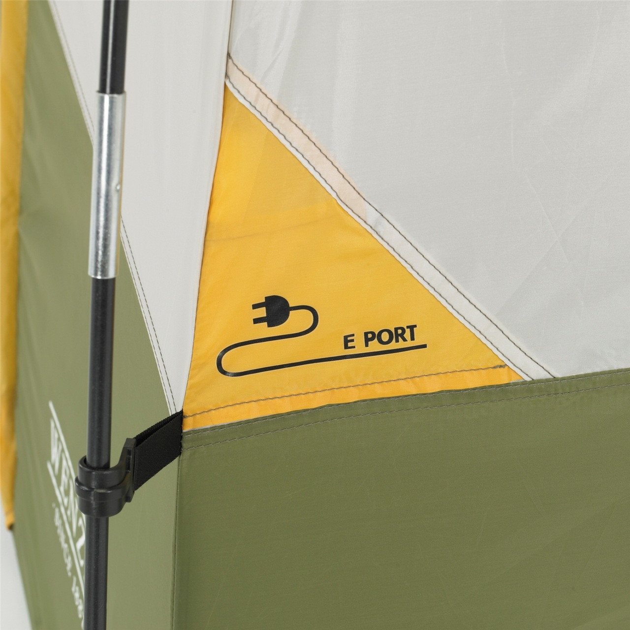 Close up view of the E Port sleeve and the tent body connecting to a pole on the Wenzel Evergreen 6 tent
