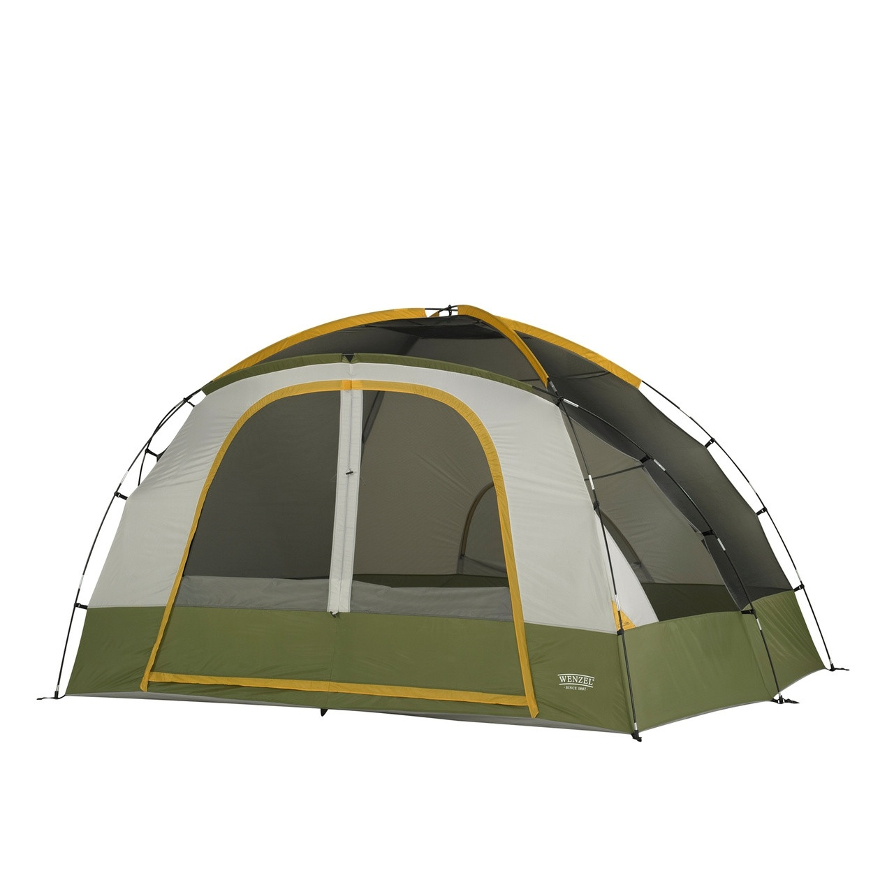 Front view of the Wenzel Evergreen 6 tent setup without the rain fly on