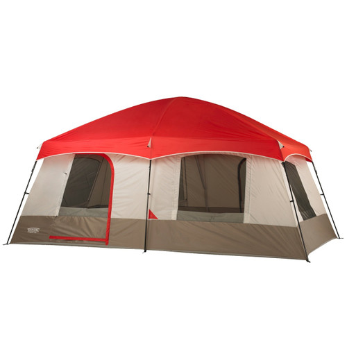 Wenzel Timber Ridge 10 tent, green and tan with red, setup with the rain fly on and the screen windows rolled open