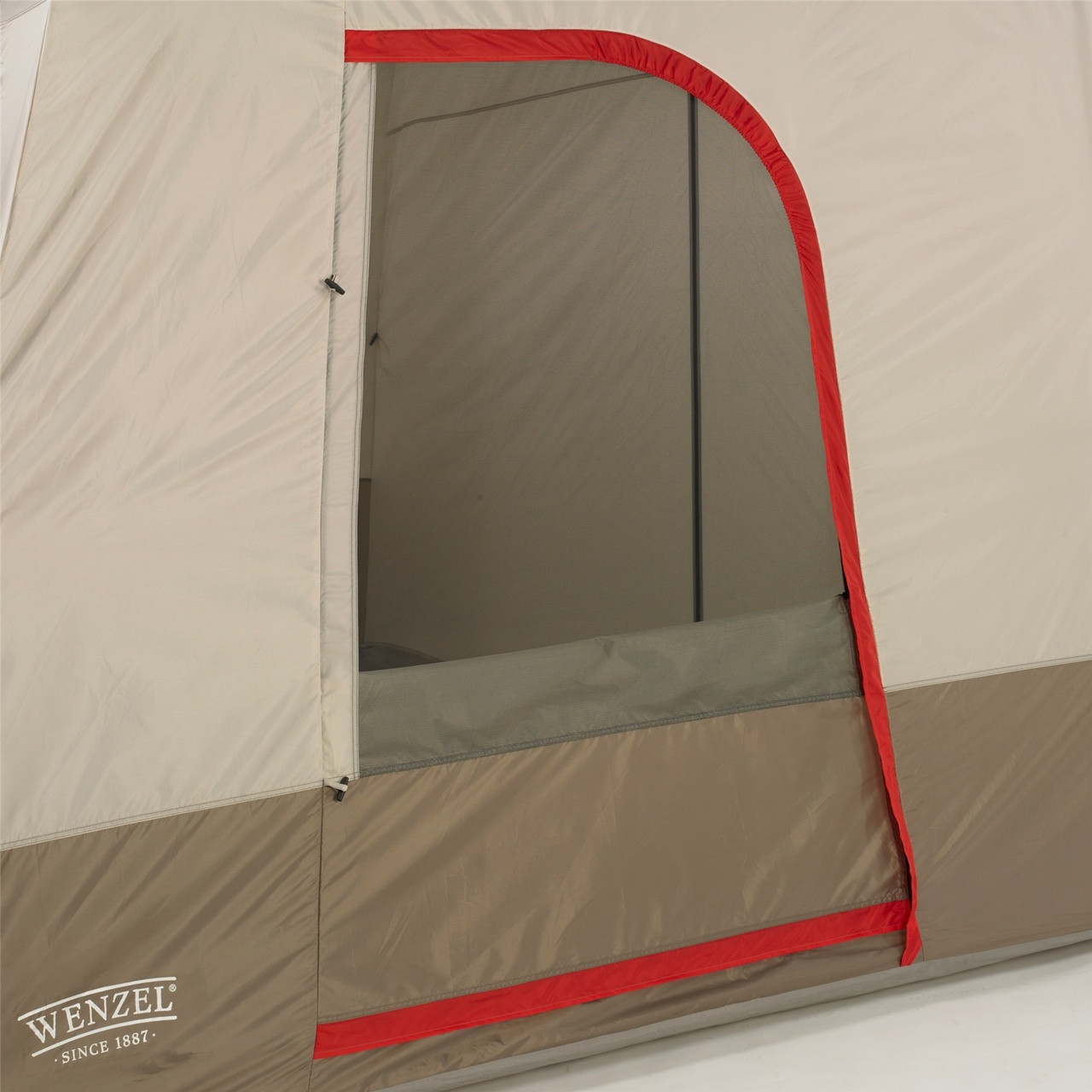 View of a side door with the screen door rolled open on the Wenzel Timber Ridge 10 tent