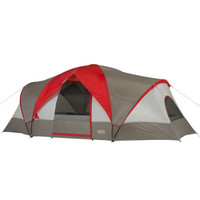 Front view of the Wenzel Great Basin 10 tent, light and dark gray with red, completely setup with the rain fly on and the guy lines extended with the main and side door zipper windows open