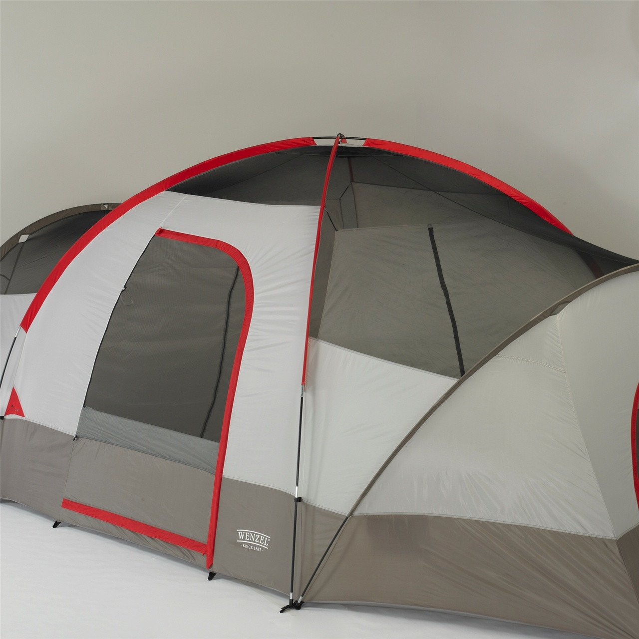 Front view of the Wenzel Great Basin 10 tent setup with the rain fly off showing the mesh ceiling