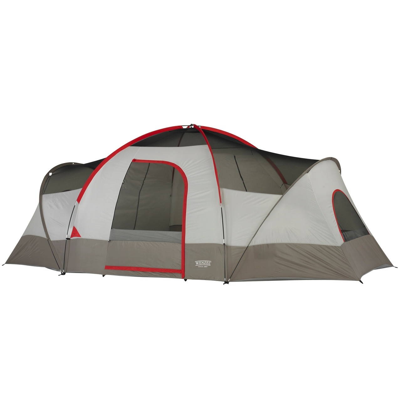 Front view of the Wenzel Great Basin 10 tent setup with the rain fly off