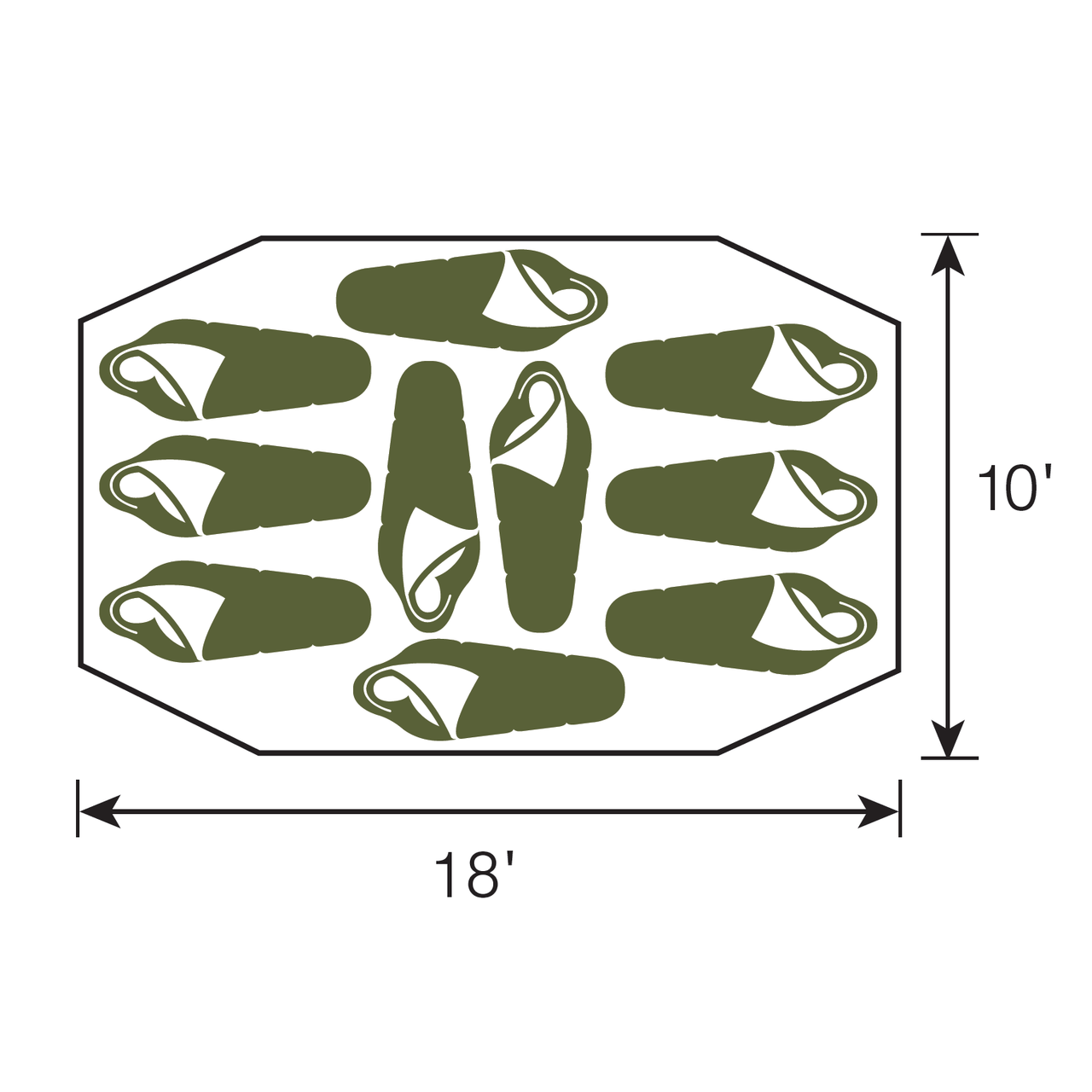Diagram of the floor sleeping plan with sleeping bags shown where people will sleep in the Wenzel Great Basin 10 tent