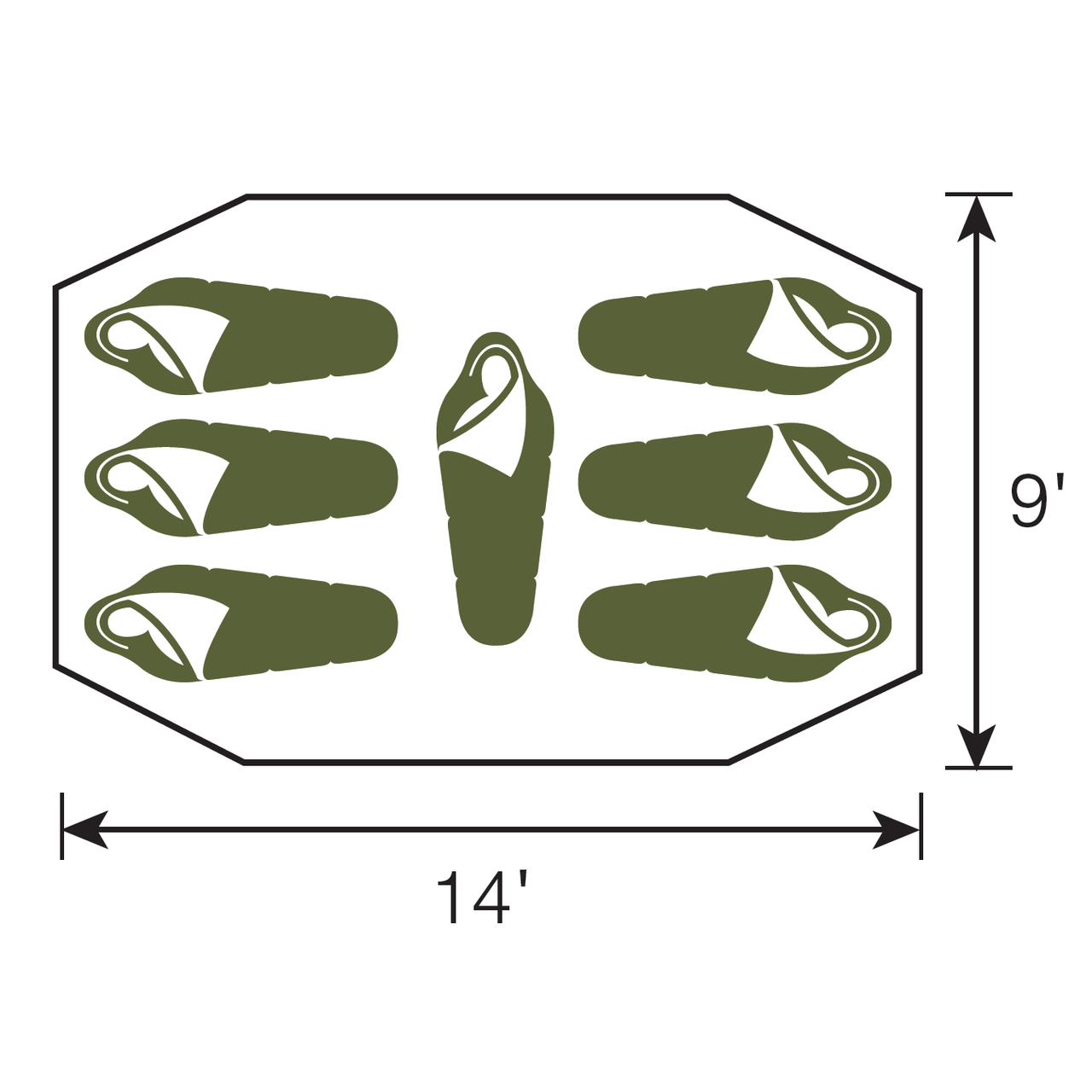 Diagram showing the dimensions of the Wenzel Blue Ridge 7 Tent floor plan with three people sleeping in the left and right room of the tent with one person sleeping in the middle room