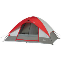 Wenzel Pine Ridge 5 tent, gray tan and red, completely setup with the rain fly on, guy lines extended and the main door screen window rolled open