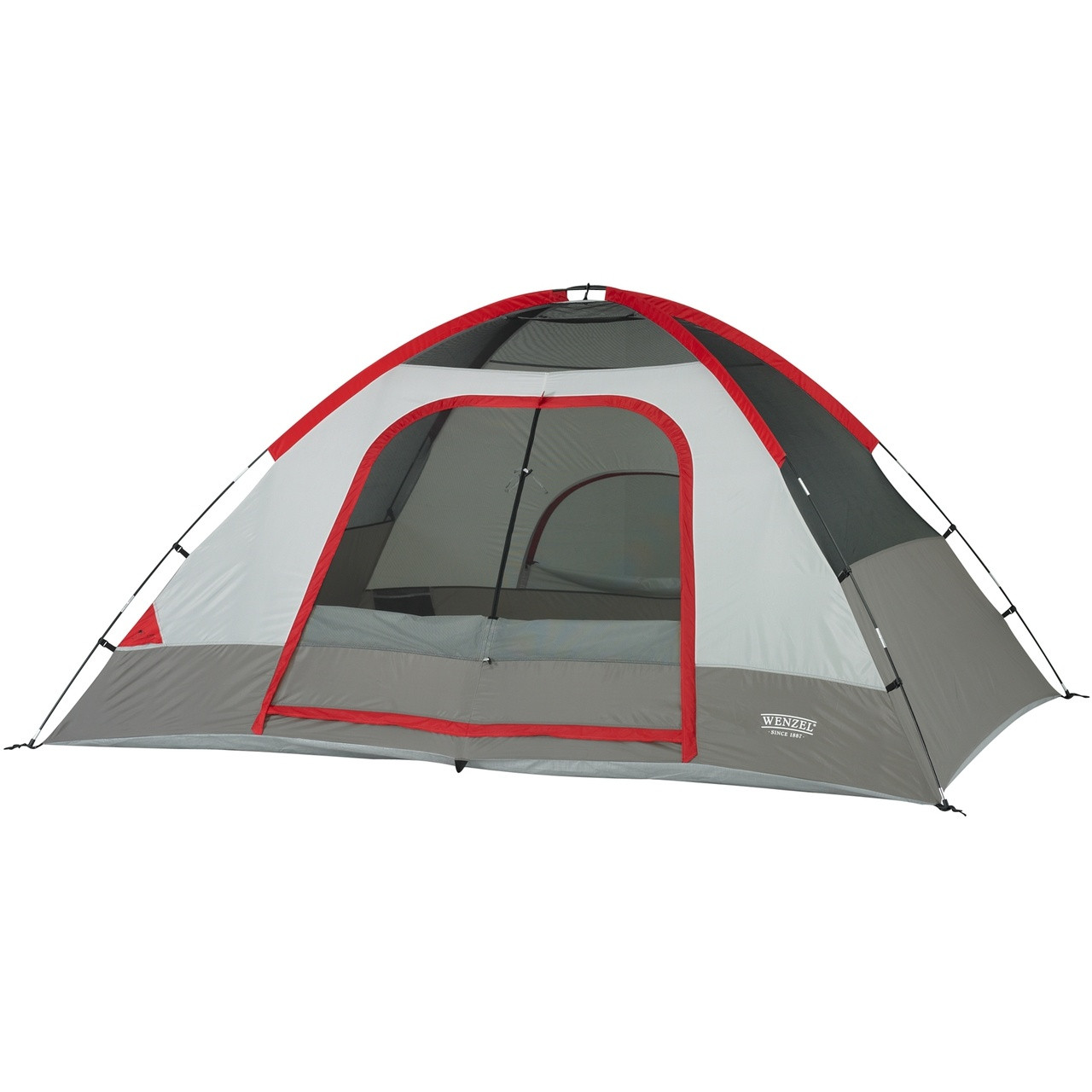 Wenzel Pine Ridge 5 tent, gray and tan, setup with the rain fly off and the main and back screen windows rolled open