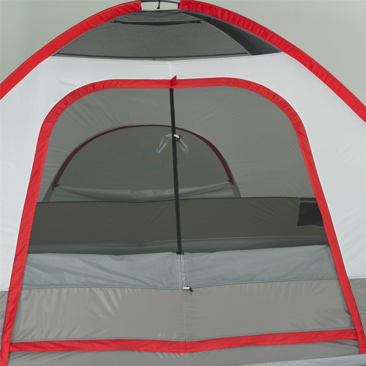 Close up view of the main door on the Wenzel Pine Ridge 5 tent with the rain fly off and the main and back screen windows rolled open