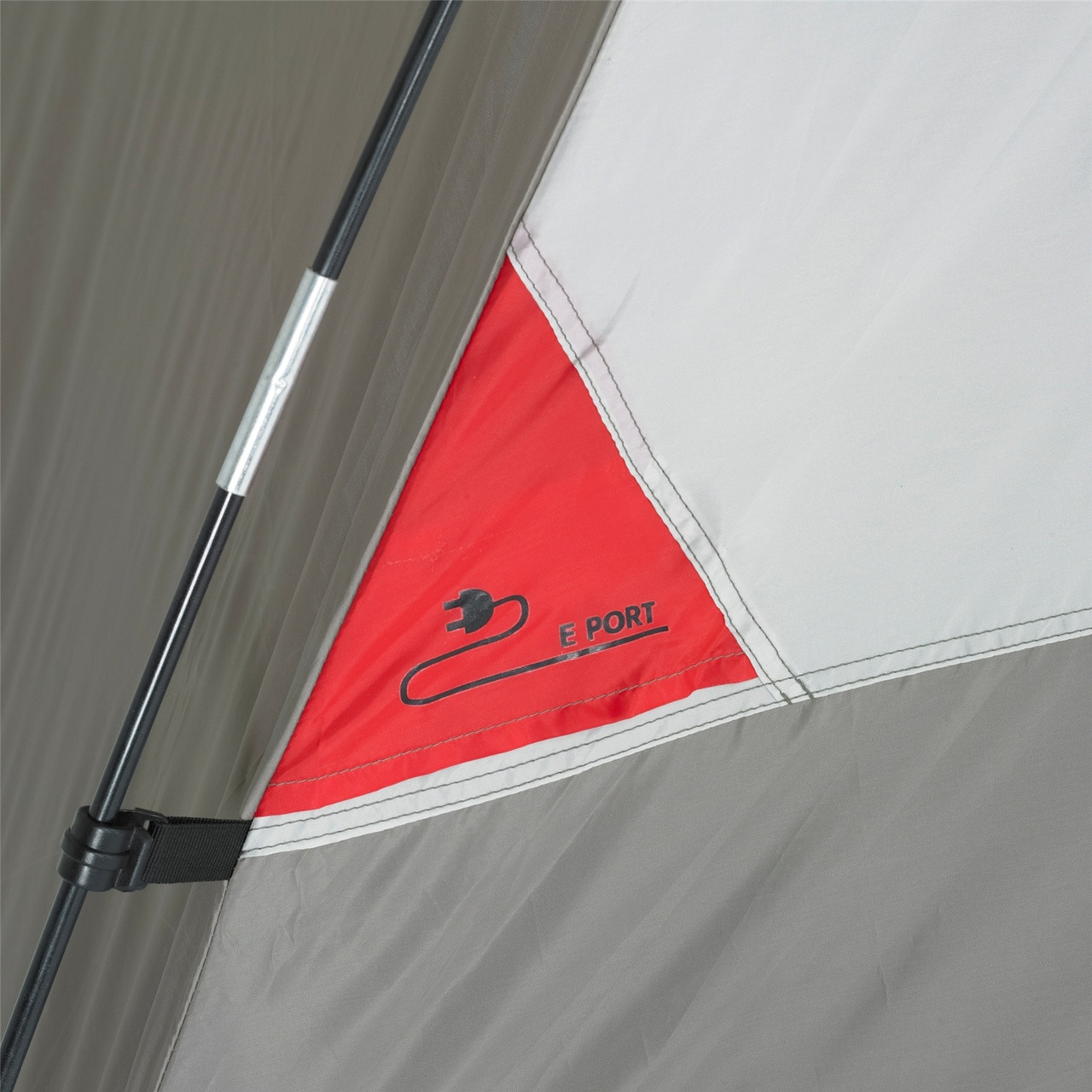 Close up view of the E Port slot on the Wenzel Pine Ridge 5 tent