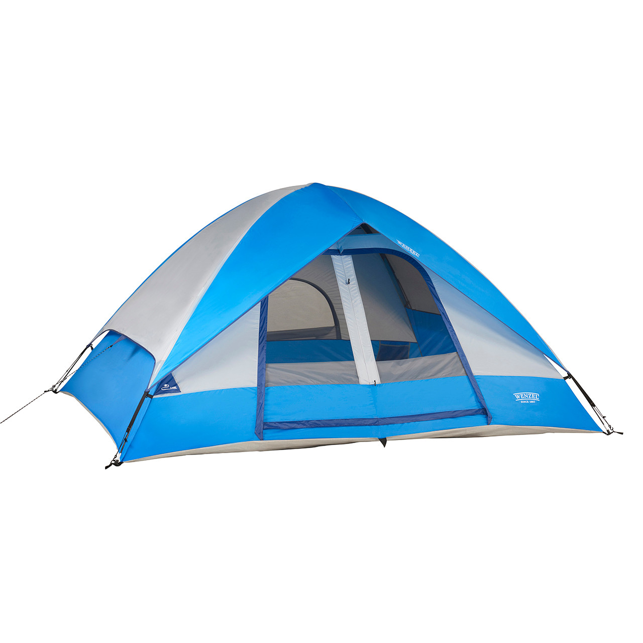 Wenzel Pine Ridge 5 tent blue and tan, setup with the rain fly completely on and the main screen door rolled open