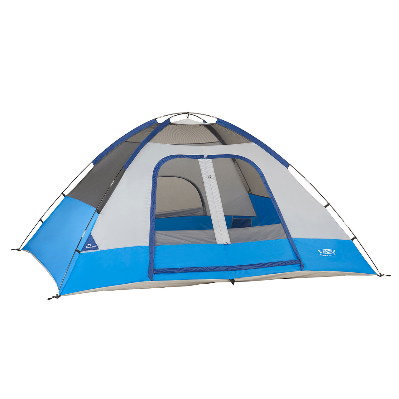 Wenzel Pine Ridge 5 tent, blue and tan, setup with the rain fly off and the main and back screen windows rolled open