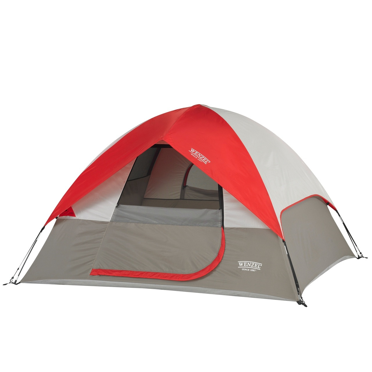 Wenzel Ridgeline 3 tent, gray and red with tan, setup with the rain fly on and the main screen window rolled open