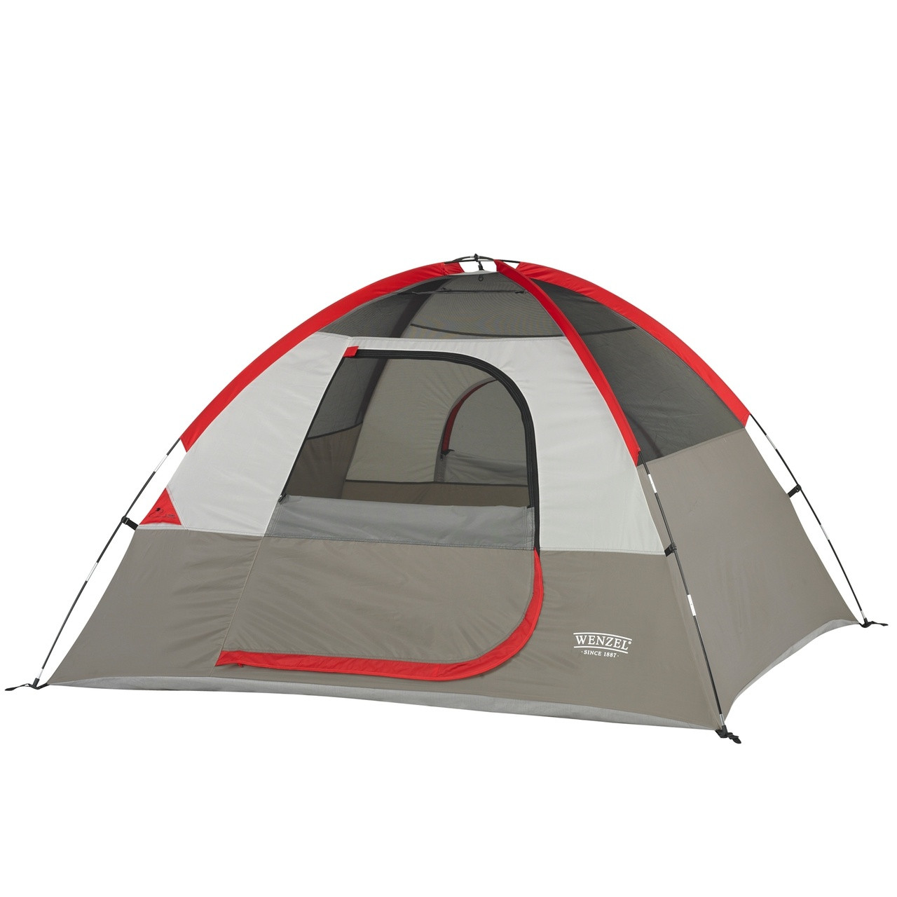 Wenzel Ridgeline 3 tent, gray and red with tan, setup with the rain fly off and the main screen door rolled open